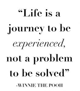 Quote: Life is a journey to be experience, not a problem to be solved  - by Winnie the Pooh.
