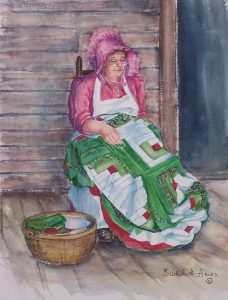 Pioneer woman sitting on porch with quilt top
