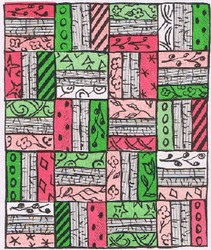 Clip art - Roman Stripe quilt drawing.