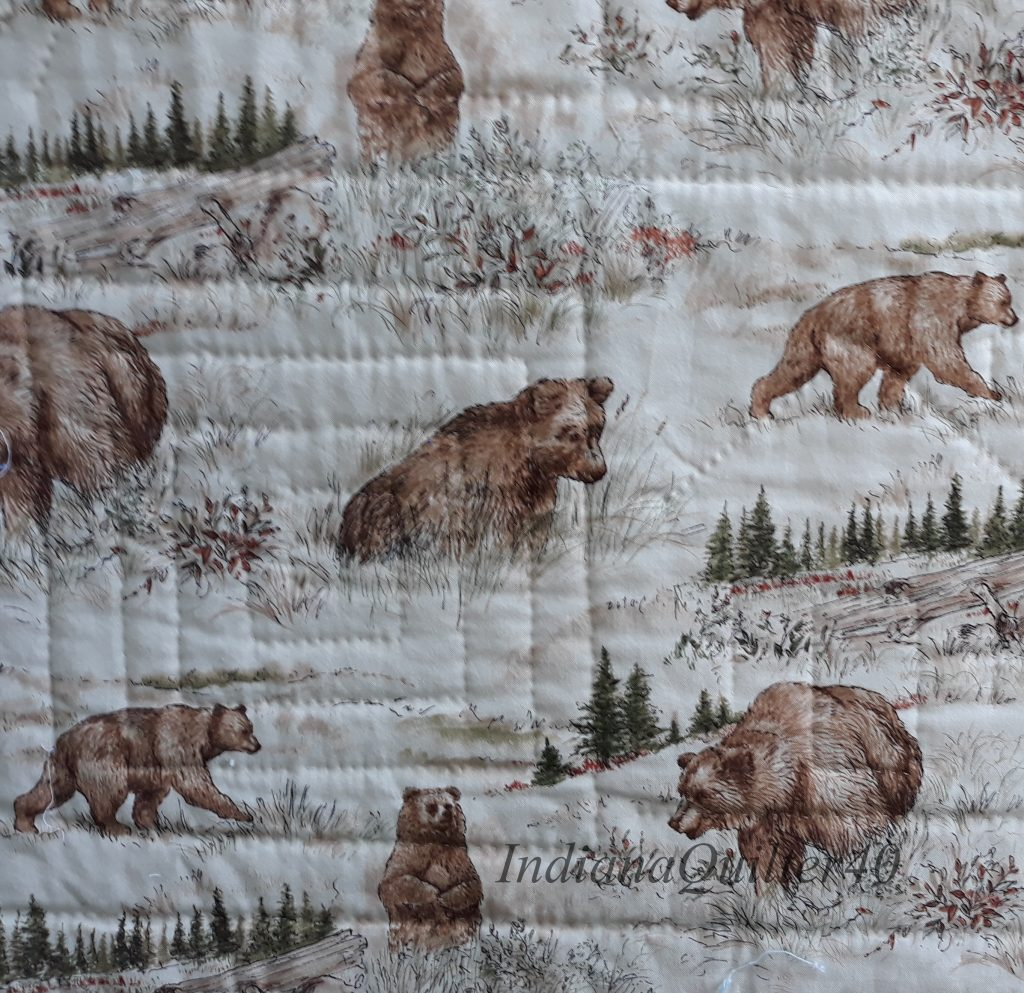 Backing is a bear print.
