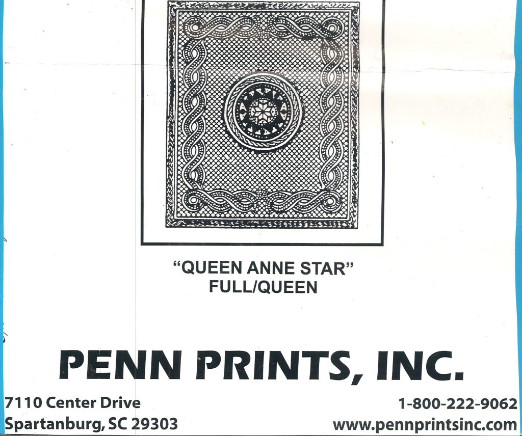 Package label for Queen Anne Star whole cloth quilt.