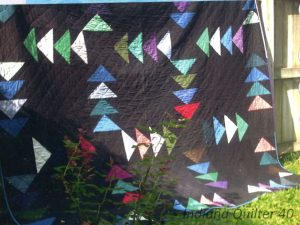 Night Flight quilt outside