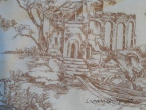 Toile with white background and brown buildings and animals.