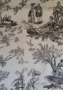 Toile with white background and skeletons dressed in colonial clothing.