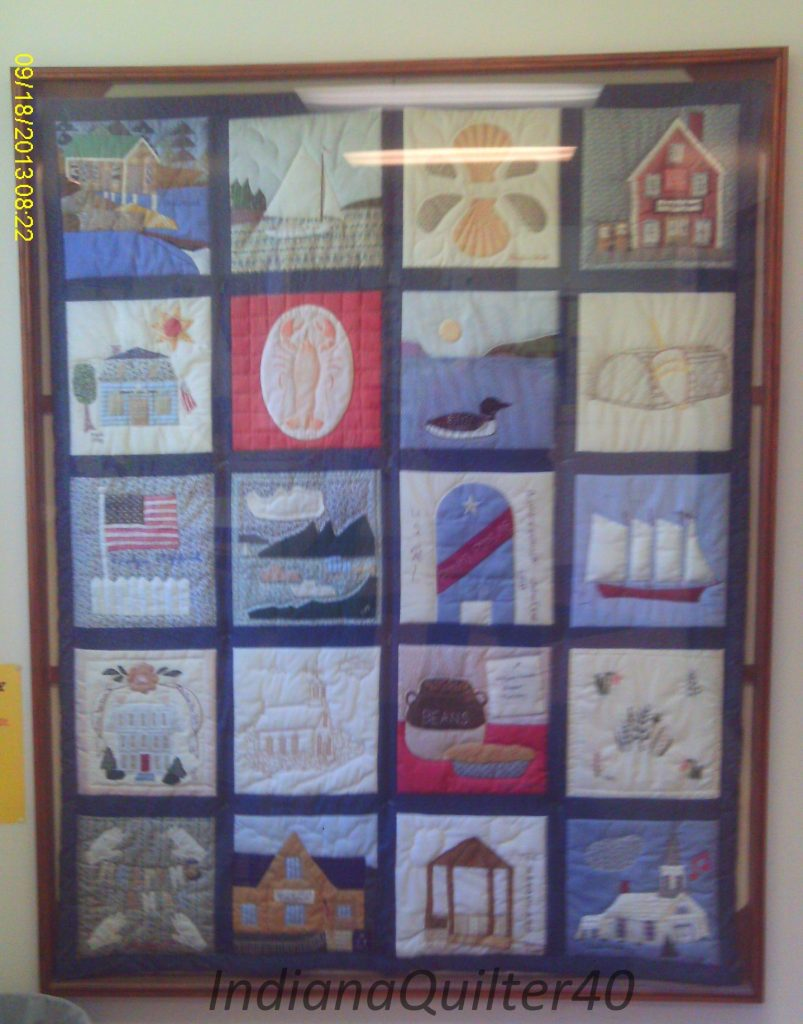 Sampler Quilt of blocks that show off coastal Maine.