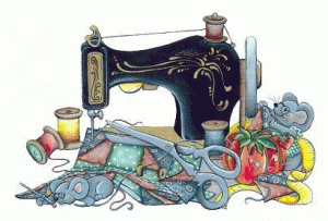 Clip art - sewing machine with quilt pieces and sewing supplies.