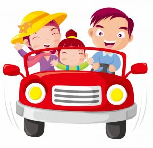 Clip Art - road trip with car and family