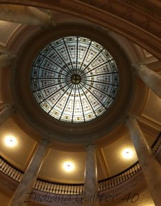 Stained glass roof of rotunda at Sullivan courthouse.