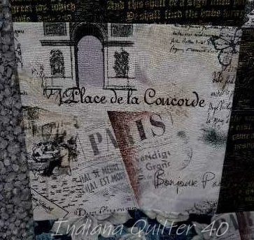 Close up of black and white Paris themed fabric