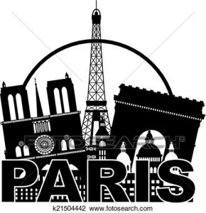 Clip art of Paris tourist destinations.