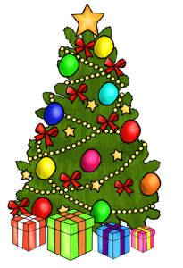 Clip art of decorated Christmas tree