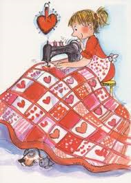 Girl with sewing machine and quilt top.