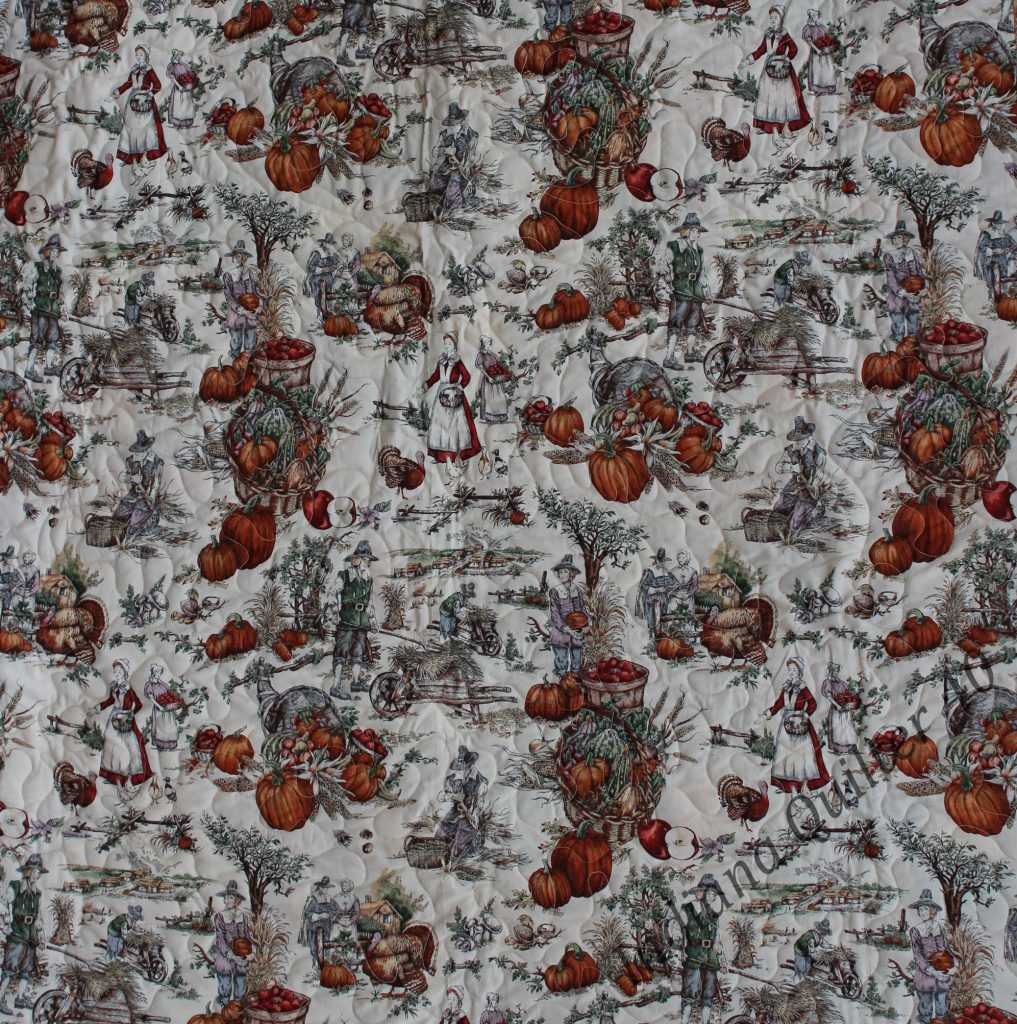 A Thanksgiving or autumn themed toile fabric is the back.