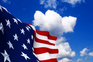 US flag and clouds