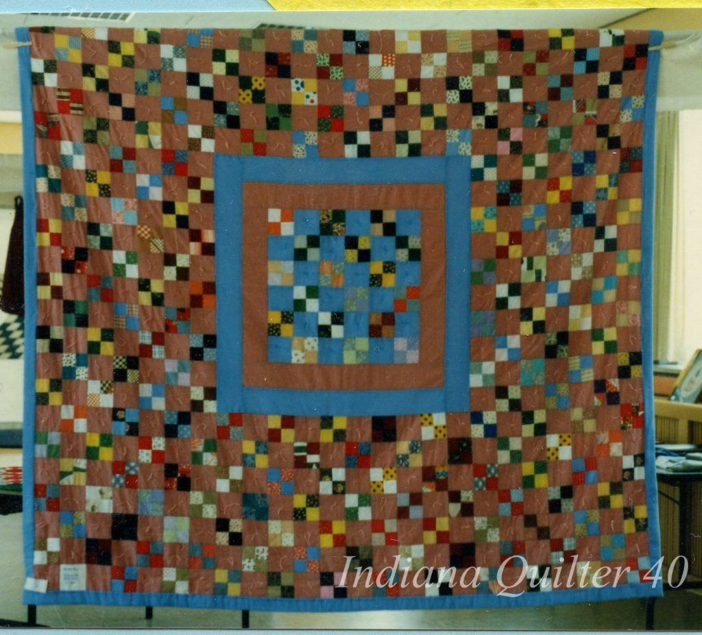 "Scrappy 4 Patch Quilt of 2"" squares made into four patches."