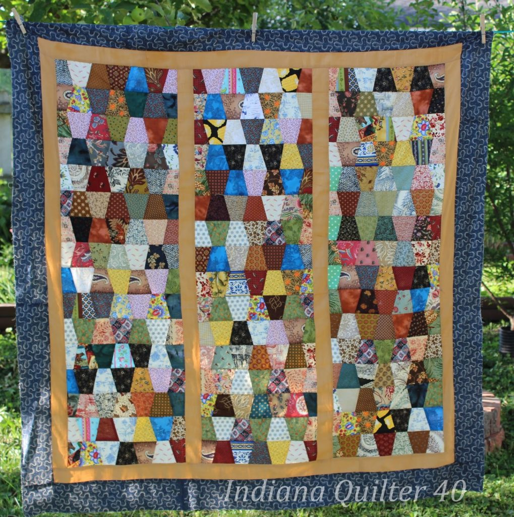 Scrappy Tumblers Quilt completed top.