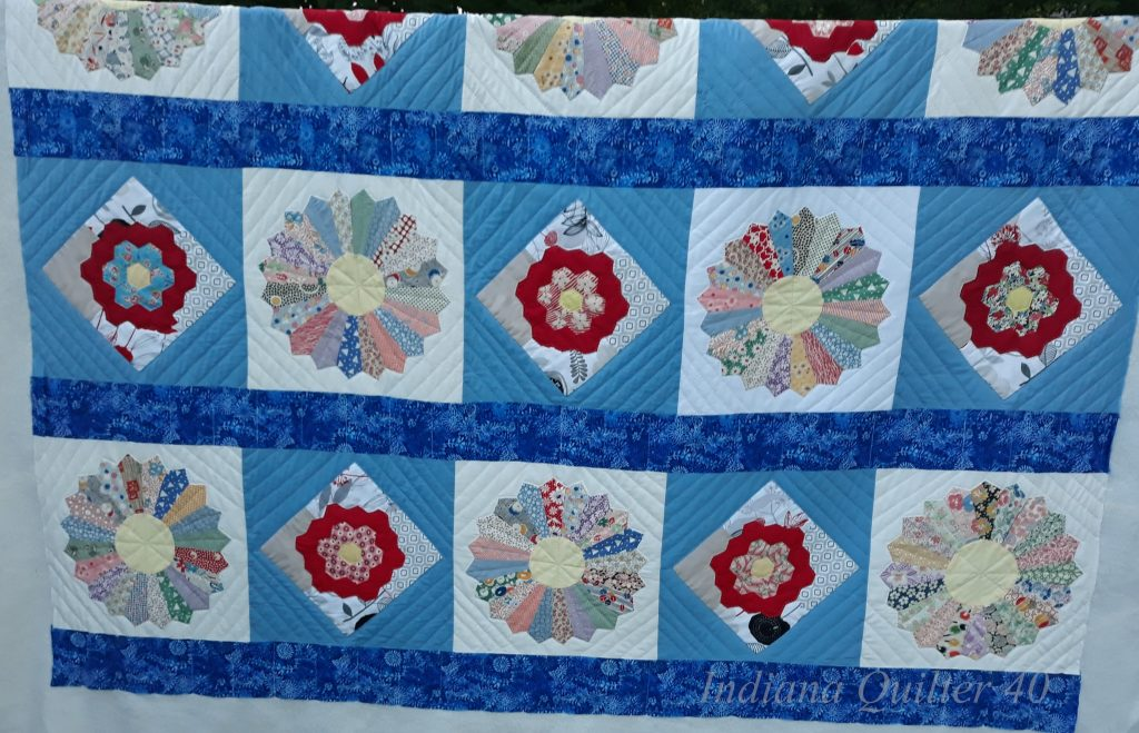 Hand quilted - Dresden plate and flower garden quilt #2.