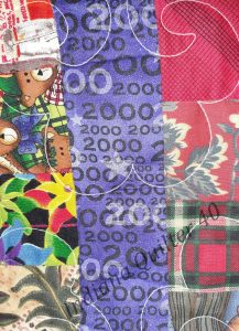 """Quilt border print says """"2000"""" in it."""