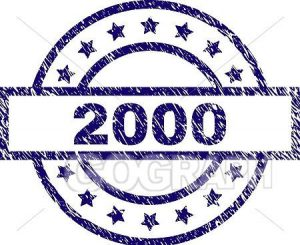 Free clip art: 2000 with stars in blue