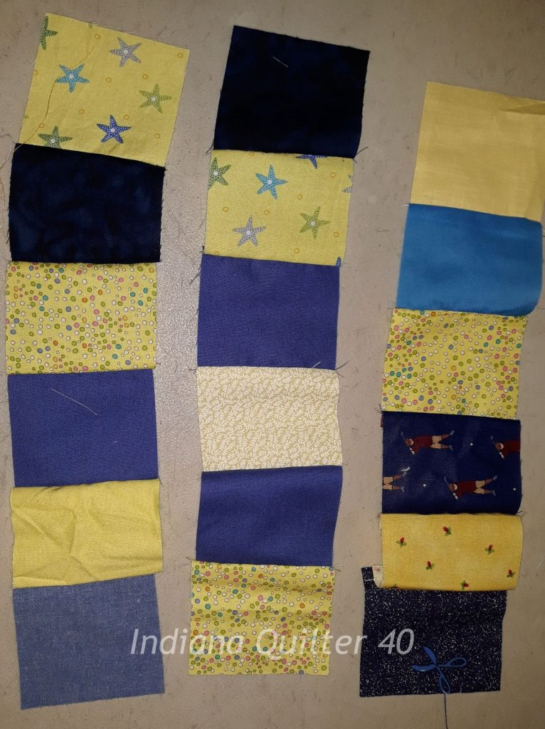 Rows together to make blocks for the Lemon Drops and Blueberries quilt.