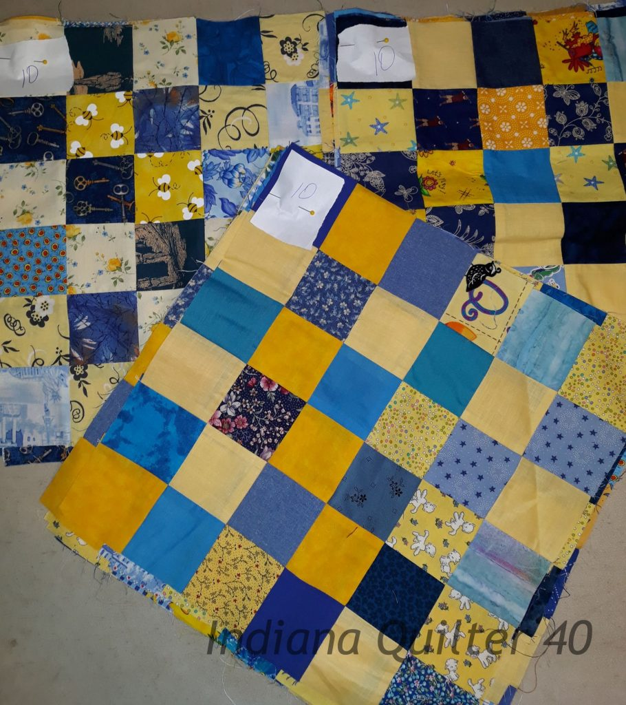 30 completed blocks for the Lemon Drops and Blueberries quilt.