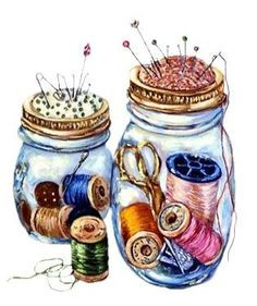 Clip art - glass jars containing straight pins, thread spools, scissors for quilting.