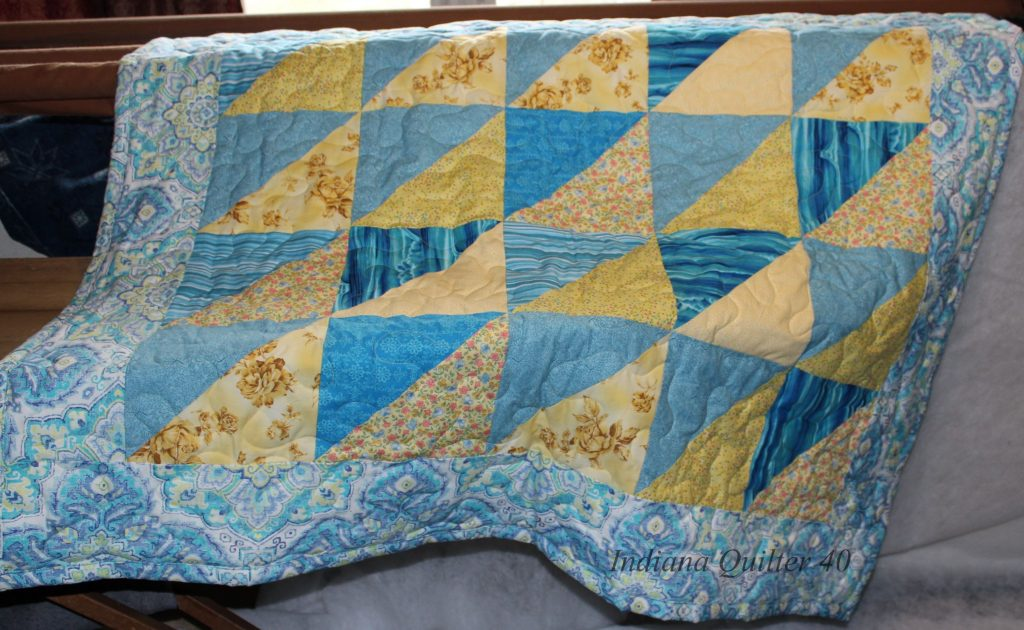 A PERSONALIZED QUILT AS A GIFT - TEAL & YELLOW LAP QUILT