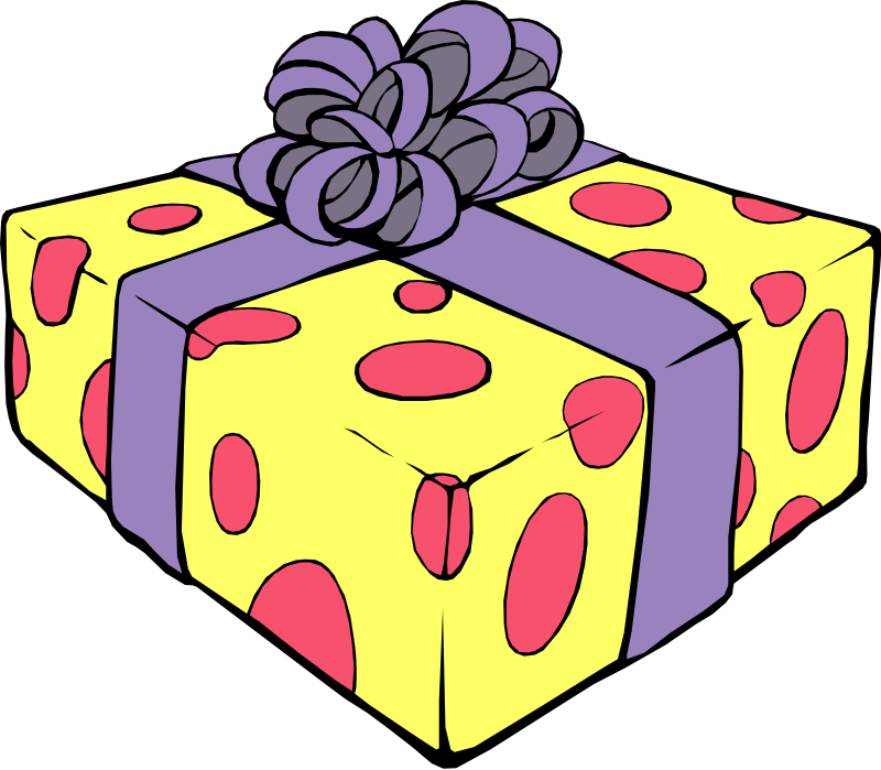 clip art - wrapped gift box.