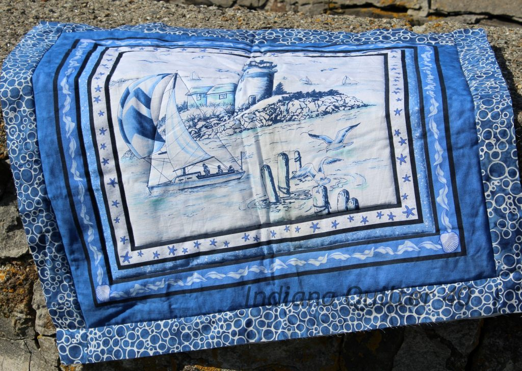 NAUTICAL SCENE WALL HANGING (a fabric panel quilt)