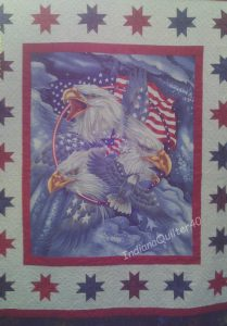 """LOVE AMERICA"" QUILTS - eagles and flags."