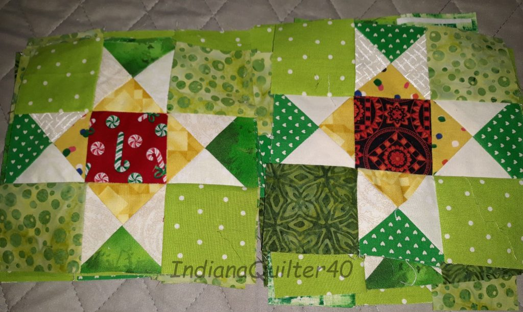 Ohio Stars for the center of the mystery quilt blocks.