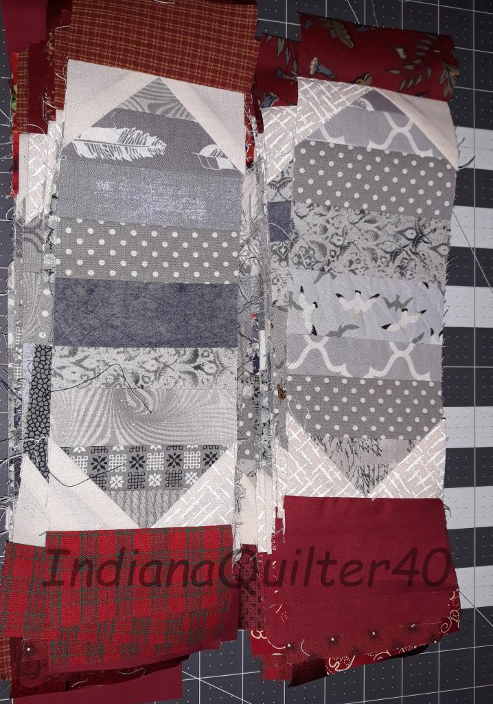 Sashing for mystery quilt blocks.
