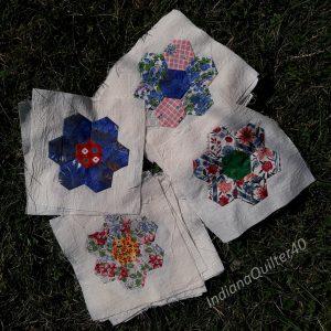 20 completed flower blocks