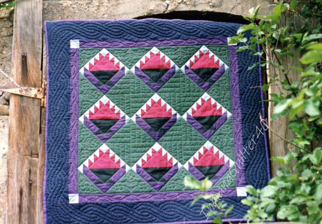 Hand quilted fabric panel
